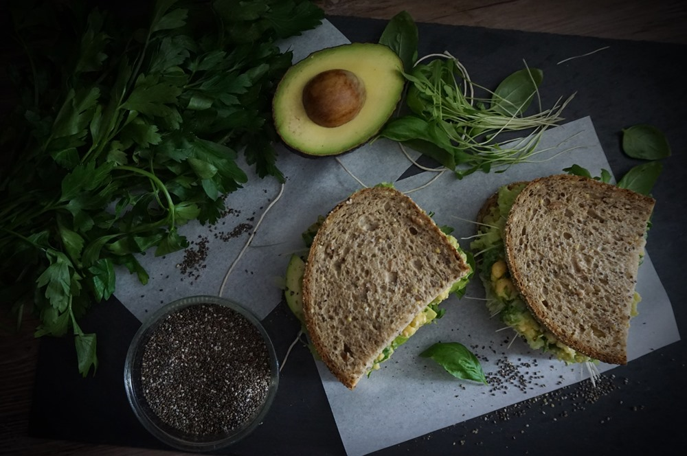 Green Power Avocado Chickpea Sandwich